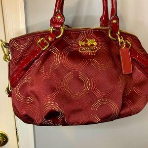 Coach Sophia satchel burgundy bag w/ gold c's